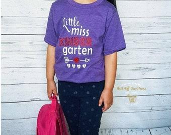 Little Miss Kindergarten Shirt - BTS Shirt- Kinder Shirt - School Shirt - Kinder Cutie - First Day Shirt - Kindergarten - Back to School