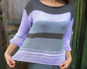 SALE! Lilac Grey Brown Jumper, Summer Knit Sweater, Lilac Knit Pullover, Ladies Pastel Jumper, Handknitted Pullover, Sweater Women Casual