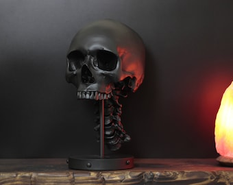 The Midnight Saint - Matte Black Full Scale Life Size Realistic Faux Human Skull Bust With Display Stand / Art / Statue / Ornament / Decor