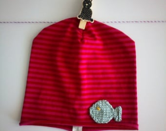 Pink striped cotton Red cap with fish