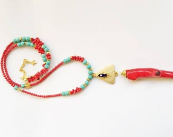 Raw Coral Pendant, Coral Beaded Necklace, Coral Necklace, Turquoise and Coral Necklace, Boho Necklace, Long Necklace, Beaded Long Necklaces