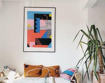 A6 geometric art prints memphis milano pastel wall decor for Home decor milano