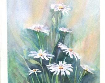 Peinture originale de fleurs aquarelle de fleurs paysage de fleurs art floral marguerites negative painting