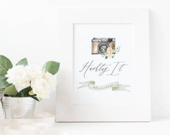 Hashtag Wedding Sign / Watercolor Botanical Vintage Camera Print/ DIGITAL Design File 5x7 or 8x10