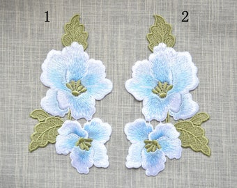 Light blue Embroidery flower patch ,flower embroidered patch