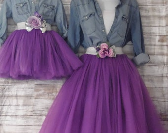 """Mother daughter Matching  Dress Set """"Purple"""" Knee length tulle skirt, mommy and me tulle skirt , tutu skirts, wedding skirts, plus size"""