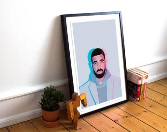 Drake Poster Print / Drake Merchandise / Hotline Bling Poster / Drake / Music Poster / Drake Views / Rap Hip Hop Poster / Drake Merch
