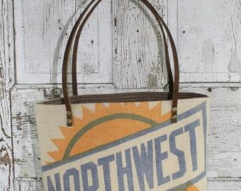 Vintage Northwest Feed Sack Shoulder Bag | Repurposed | Upcycled | Tote Bag | Feedsack | Grain Sack