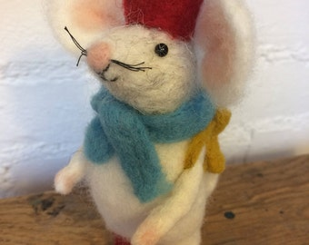 Reginald The Hand Made Needle Felted Mouse With Hat Boots Rucksack