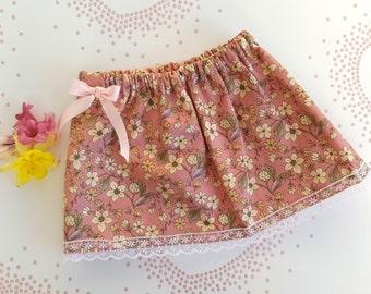 Baby Girls Peach Floral Skirt, Little Girls Skirt, 3-6m, 18-24m, 4-5years Baby Skirt, Peach And Pink, Flower Skirt, Summer Skirt, Baby Gift,