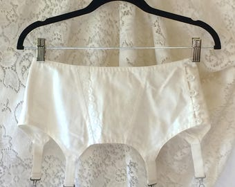 Vintage 1960's White Button-up Garter Belt -New with Tags