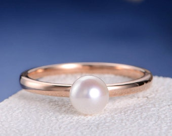 Solitaire Rose Gold Ring Akoya Pearl Engagement Ring Women Simple Minimalist Birthstone Plain Band Engraving Anniversary Promise Gift Her