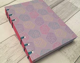 Hand Bound A5 Notebook - Bright Cupcake Design