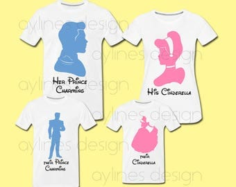 His Cinderella and Her Prince Charming Disney Prints for Parents and Kids  Family Shirts. Printable