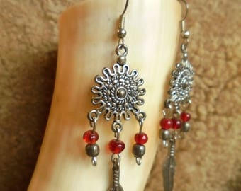 Red and silver dream catcher earrings ages