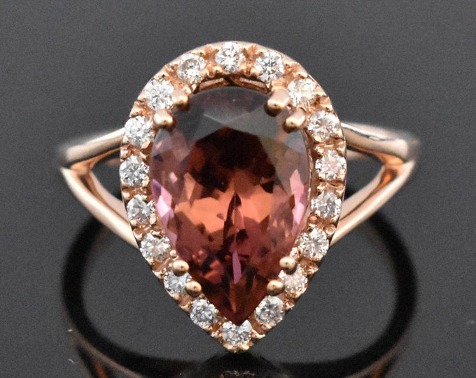 14K Rose Gold Pink Tourmaline and Diamond Ring | Engagement Ring | Wedding Ring | Statement Ring | Diamond Halo | Handmade FineJewelry