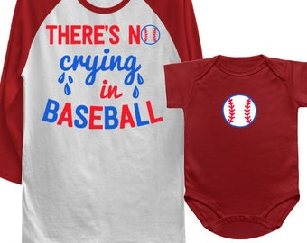 MATCHING SET- 2 Tees- There's No Crying in Baseball / Baseball / Summer / Dad / Toddler T-shirts / Matching Tees / A League of their own