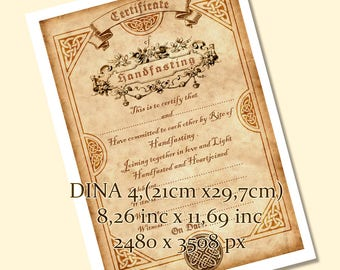 Printable HANDFASTING CERTIFICATE . wedding. marriage. parchment . Magic . Wicca. Pagan . Rite. wiccan . Celtic. - DOWNLOAD jpg. pdf.