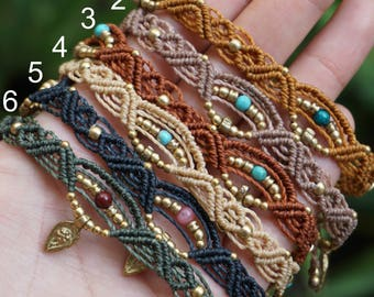 Decorated macrame anklets with beads and pendants