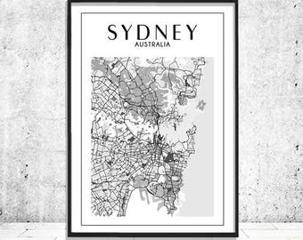 Sydney Print, Sydney Map, Sydney Poster, Map of Sydney, Sydney Australia, Australia Map, Sydney Wall Art, Sydney City of Sydney Travel Decor