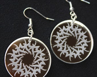 Laser-Cut and Engraved Mirrored Acrylic Earrings