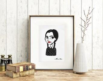 Illustration digital/felt Wednesday Addams