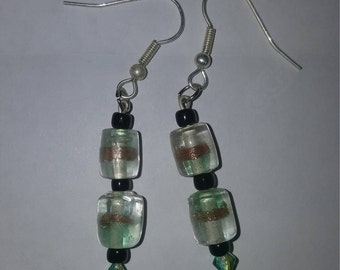 Handmade Green and Gold Glass And Bead Drop/Dangle Earrings
