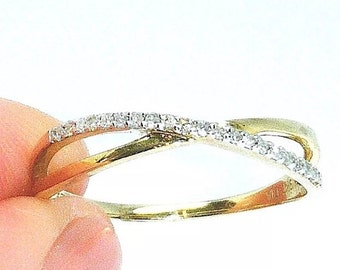 Antique 9ct Yellow Gold & Diamond Crossover Ring | Round 0.15ctw Diamonds | 9k Yellow Gold | Eternity Ring | UK Size O / US Size 7.5 | SIEFF
