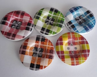 Plaid/Tartan Multi Coloured Wooden Buttons