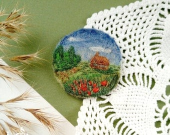 Hand Embroidered Felt Brooch Rustic Landscape Miniature Picture Boho Pin Fairytale Gift Poppy Field House Wool Jewelry Round Natural Scenery