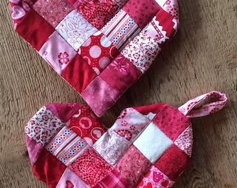 heart potholder, handmade heart potholder, red and white potholder, decorative potholder, valentines day decoration, kitchen decoration