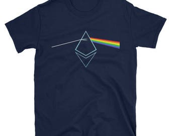 Ethereum Shirt Prism Rainbow Light T Shirt | Ether Fan Tee Shirt HODL To the Moon T Shirt Unisex T-Shirt