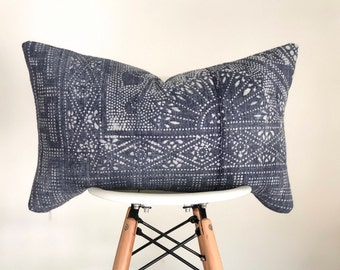 14 x 22 Blue (Periwinkle) and White Chinese Hmong Batik Lumbar Pillow Cover, Boho Pillow Cover, Nursery Pillow