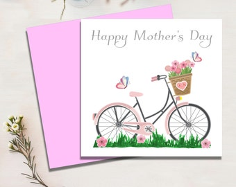 Sweet Mother's Day Card, Floral Bicycle, Grandma, Mammy, Mam, Mom
