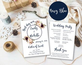 Wedding program template, Wedding program, wedding programs instant download, Wedding Program Printable, Wedding Ceremony Template, WP29