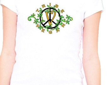 woman's Tribe Vegan/100% cotton white tee shirt/animal rights