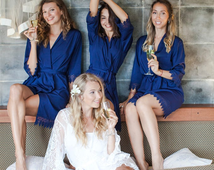 Bridesmaid Robes - Wedding Gift - Gift for Bridesmaid -Wedding Robes -Bridesmaid Gift -Silk Robes Set, Kimono Robes