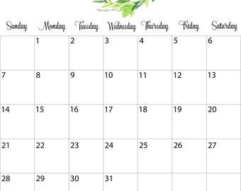 2018 Calendar Printable, 2018 Monthly Calendar Printable, Watercolor Calendar, Letter Size, Wall Calendar, Digital Download