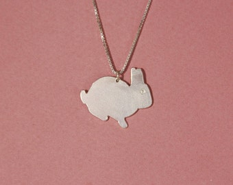 Sterling silver rabbit necklace rabbit necklace pendant rabbit foot necklace bunny necklace lucky bunny necklace