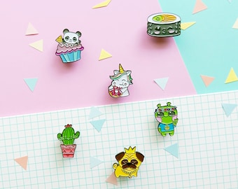 6 lapel pins, unicorn pin, pug pin, cactus pin, sushi pin, panda pin, alien soft enamel pins, kawaii pins, cute badges, cute pins, badge