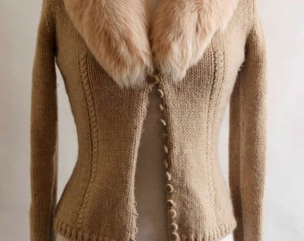 Blumarine Fox Fur Collar Woolen Cardigan