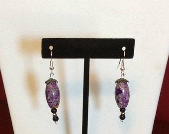 Earrings / Dangle  / Purple and Black Beads
