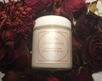 Geranium Fields – All Natural Handmade Coconut & Shea Body Butter Lotion with Essential Oils, infused with Vitamin A and E