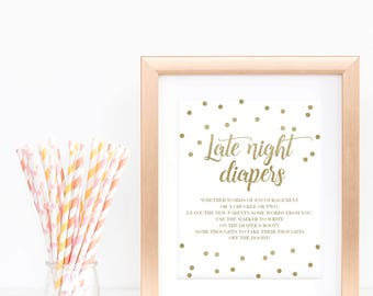 Fun Baby Shower Game Late Night Diapers Game Sign Gold Confetti Diaper Thoughts Printable Sign instant Downloadable Baby Shower Signs GCO