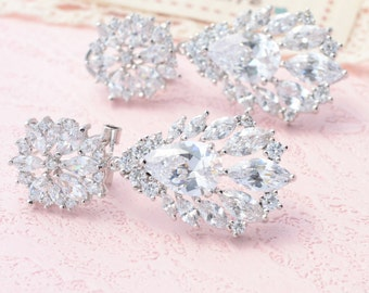 Briadal Earrings Bridal Rhinestone Earrings Crystal Earrings Dangle Earrings Silver Zirconia Earrings Crystal Drop Earrings Bridal Jewelry