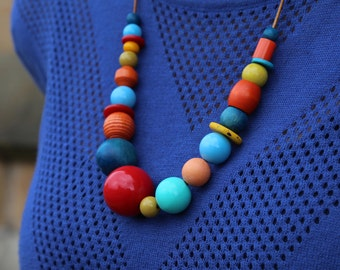 Red/Blue/Orange/Yellow Necklace, Beaded Necklace, Chunky Necklace, Coloured Necklace,