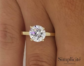 1.5 Ct Round Cut VS1 Diamond Ring, Solitaire Engagement Diamond Ring, 14K Yellow Gold