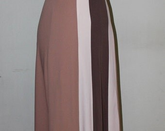 "XS, Vintage 1970's Maxi dress with halter top, earth tones, 24"" waist"