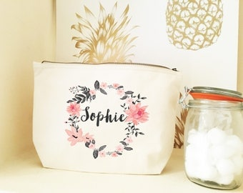 blush and grey floral wreath personalized make up bag - bridesmaid gifts - bridesmaid personalised bags - bridal shower ideas - totes - bags