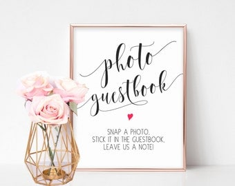 Photo Guestbook Sign, Printable Wedding Sign, Reception Sign, Ceremony Sign, Instant Wedding Guestbook, Rustic Wedding Sign, Wedding Signage